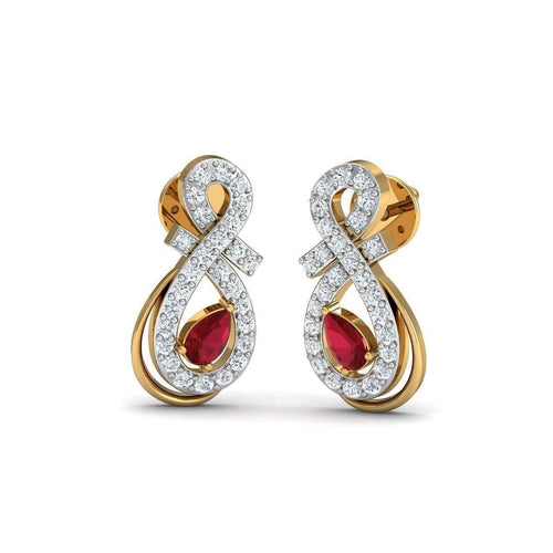 Binding Ruby And Diamond Earrings in 18kt Yellow Gold-Diamoire Jewels-JewelStreet EU