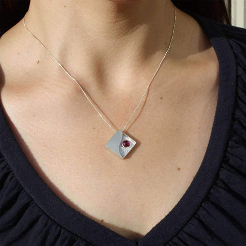 Reversible Red and Blue Pendant Necklace-Monica Fiorella Jewelry-JewelStreet US