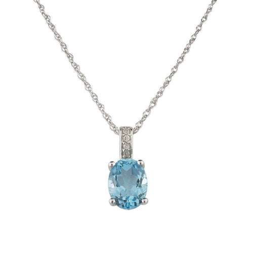14kt White Gold Diamond And Swiss Blue Topaz Pendant With Chain - December Birthstone