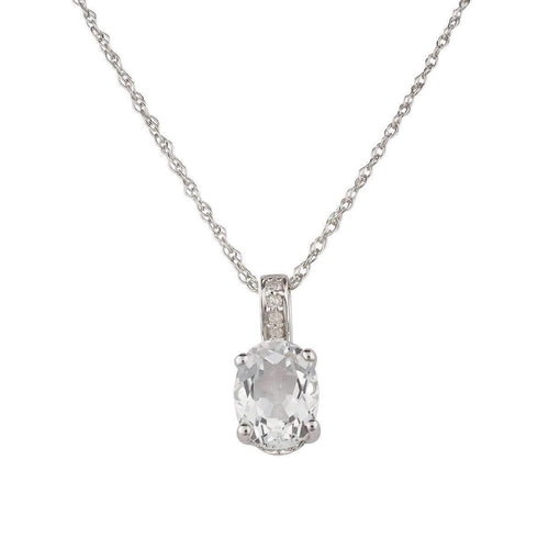 14kt White Gold Diamond And White Topaz Pendant With Chain - April Birthstone