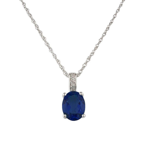 14kt White Gold Diamond And Sapphire Pendant With Chain - September Birthstone