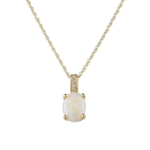 14kt Yellow Gold Diamond And Opal Pendant With Chain - October Birthstone