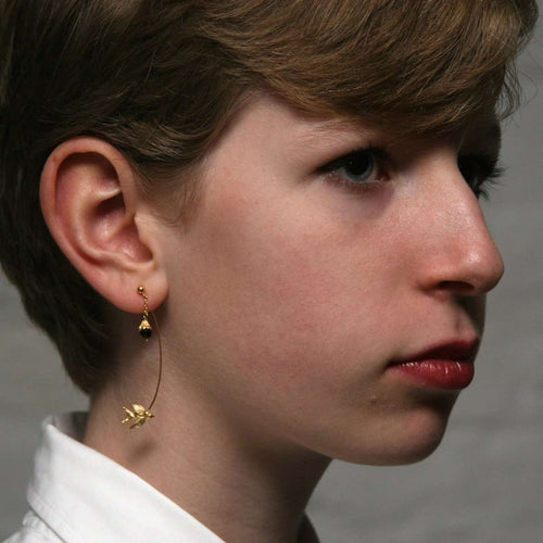 Gold Swallow and flower earrings-Roz Buehrlen-JewelStreet EU