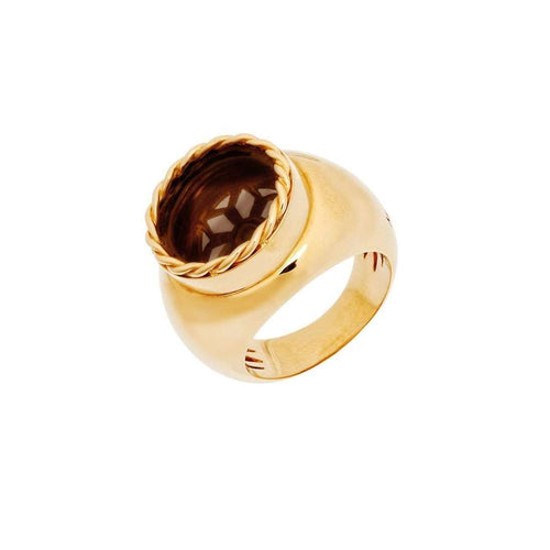 Rome - Yellow Gold Ring With Smoky Quartz-Mimata-JewelStreet EU