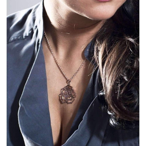 Rosa Large Black Pendant-Necklaces-MANJA Jewellery-JewelStreet