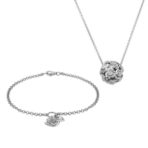 Rose Bracelet & Necklace Set-Lily and Lotty-JewelStreet EU