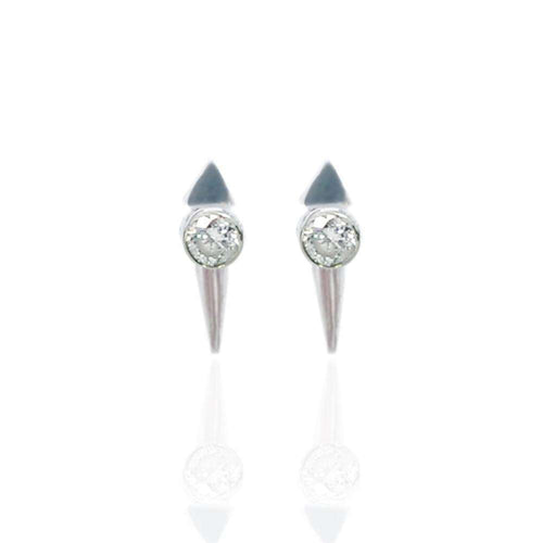 Rock Studded Micro Spike Stud Silver Earrings-Jane North-JewelStreet EU