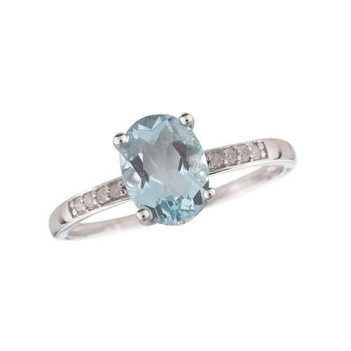 14kt White Gold Diamond And Aquamarine Ring - March Birthstone