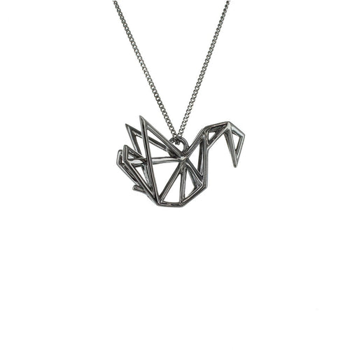 Black Silver Frame Swan Origami Necklace