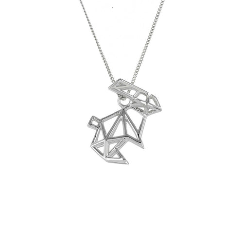 Sterling Silver Frame Rabbit Origami Necklace