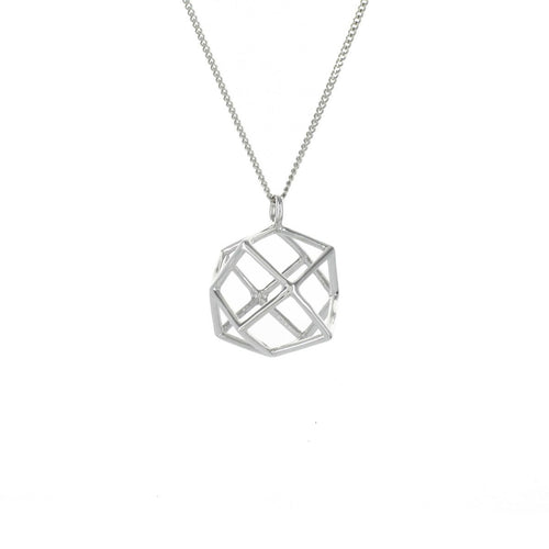 Sterling Silver Frame Magic Ball Origami Necklace