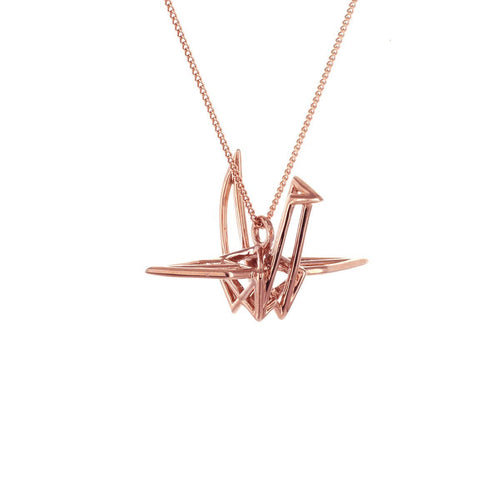 Sterling Silver & Pink Gold Frame Crane Origami Necklace