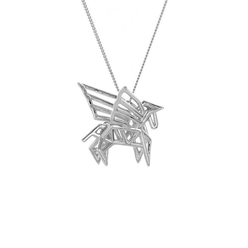 Sterling Silver Frame Pegaze Origami Necklace