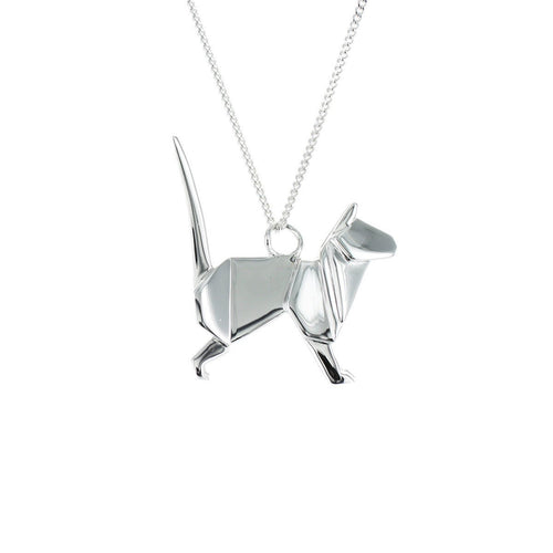 Sterling Silver Cat Origami Necklace