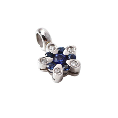 18kt White Gold Blue Rose Pendant ,[product vendor],JewelStreet
