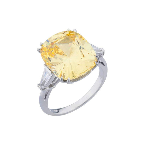 14kt White Gold 11.5ct Canary Cushion Cut Ring ,[product vendor],JewelStreet