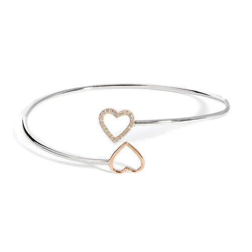 Yellow Gold & Sterling Silver Open Heart Bangle | Kaizarin ,[product vendor],JewelStreet