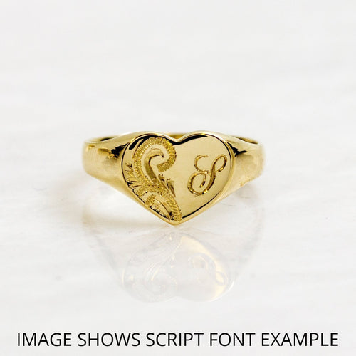 Cushion-shaped 9kt Yellow Gold Lightweight Engraved Signet Ring ,[product vendor],JewelStreet