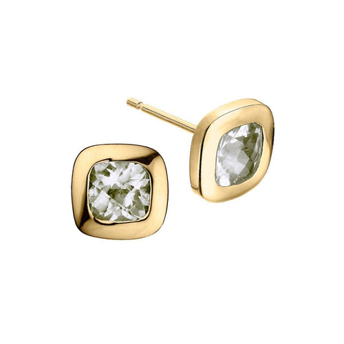 Gold and Quartz Checkerboard Stud Earrings ,[product vendor],JewelStreet