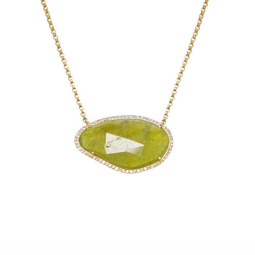 Green Sapphire Slice & Diamond Necklace ,[product vendor],JewelStreet