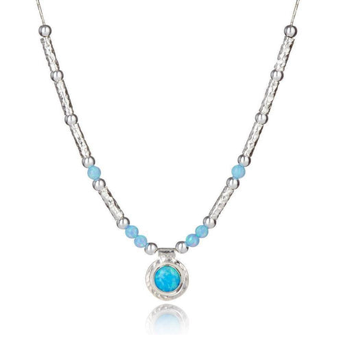 Hammered Sterling Silver & Blue Opal Necklace ,[product vendor],JewelStreet