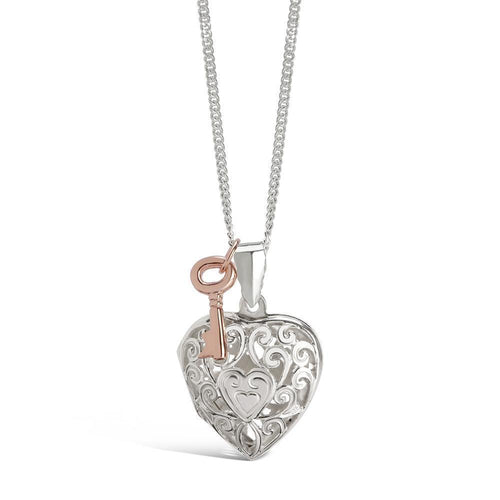 Sterling Silver Key Heart Locket Necklace ,[product vendor],JewelStreet