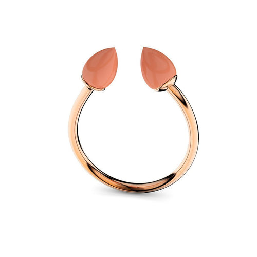 Rose Gold Plated Silver & Coral Ring ,[product vendor],JewelStreet