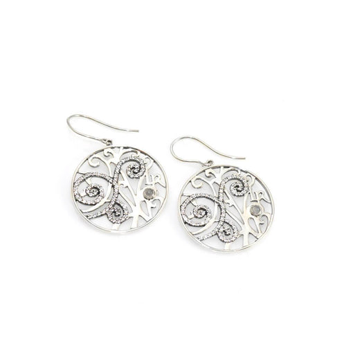 Swirl Earrings With Quartz Crystal ,[product vendor],JewelStreet