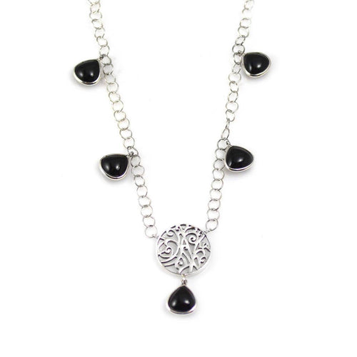 Necklace in Sterling Silver with Black Onyx Drop ,[product vendor],JewelStreet