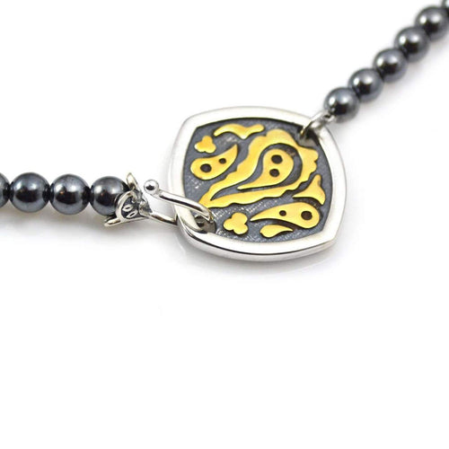 Bead Necklace in Hematite with Sterling Silver and Gold Decorative Clasp ,[product vendor],JewelStreet