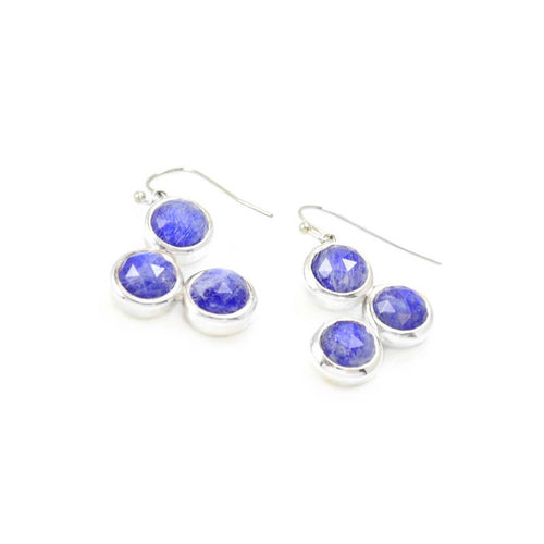 Trilogy Earrings In Sterling Silver With Lapis Lazuli And Moonstone ,[product vendor],JewelStreet