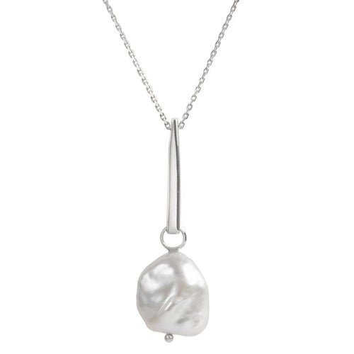 Sterling Silver Baroque Pearl Necklace ,[product vendor],JewelStreet