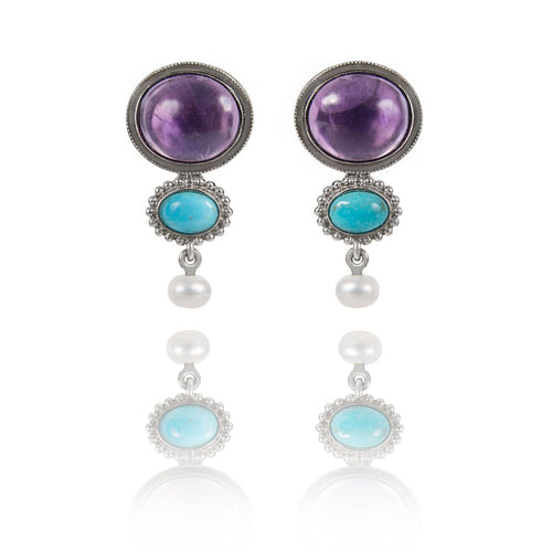 Rhodium Plated Sterling Silver Amethyst and Turquoise Earrings ,[product vendor],JewelStreet