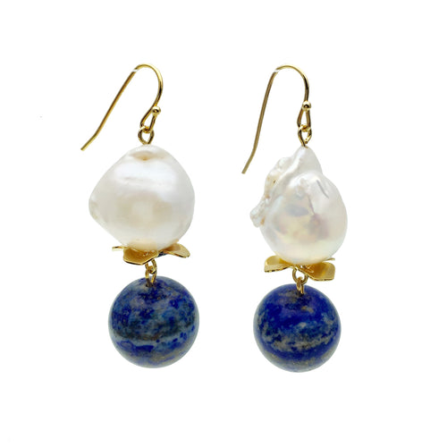 Freshwater Pearl  Hook Earrings With Lapis Lazuli ,[product vendor],JewelStreet