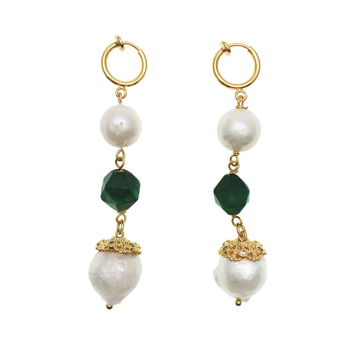 Malachite With Edison Pearl & Freshwater Pearls Dangle Earrings ,[product vendor],JewelStreet