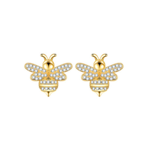 Gold Vermeil Bumble Bee Earrings ,[product vendor],JewelStreet