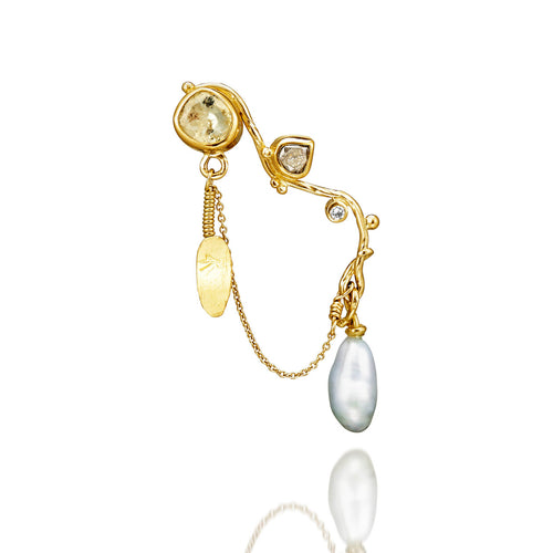 Yellow Gold Seafire Earrings With Keshi Pearl, Raw Sapphire and Diamonds | Bergsoe  ,[product vendor],JewelStreet