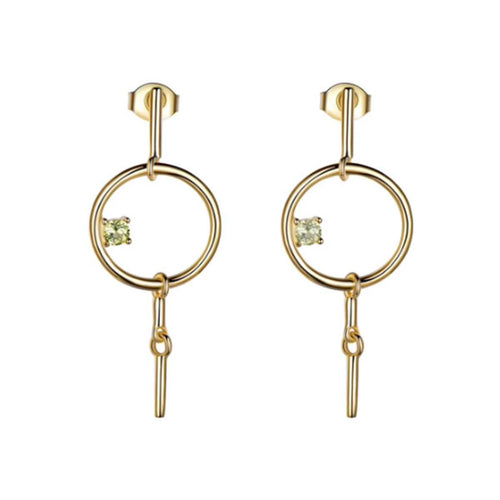 Gold Vermeil Geometric Dangle Earrings With Diopside ,[product vendor],JewelStreet