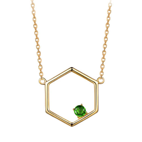 Gold Vermeil Linear Necklace With Diopside ,[product vendor],JewelStreet