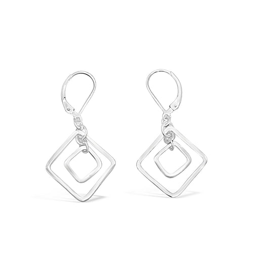 Sterling Silver Harmony Double Nested Square Leverback Earrings ,[product vendor],JewelStreet