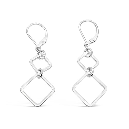 Sterling Silver Harmony Double Square Dangle Leverback Earrings ,[product vendor],JewelStreet