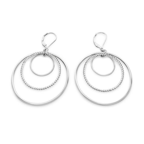 Sterling Silver Harmony Triple Nested Circle Statement Leverback Earrings ,[product vendor],JewelStreet