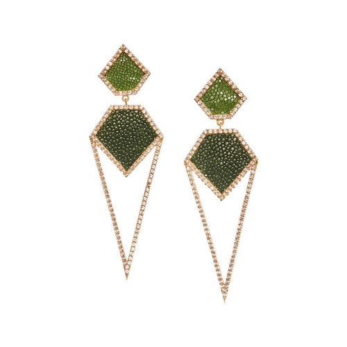 Cara Yellow Gold Plated Silver Earrings With Green Stingray Leather ,[product vendor],JewelStreet