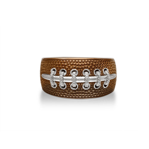 Hustle & Tackle American Football Diamond Ring ,[product vendor],JewelStreet