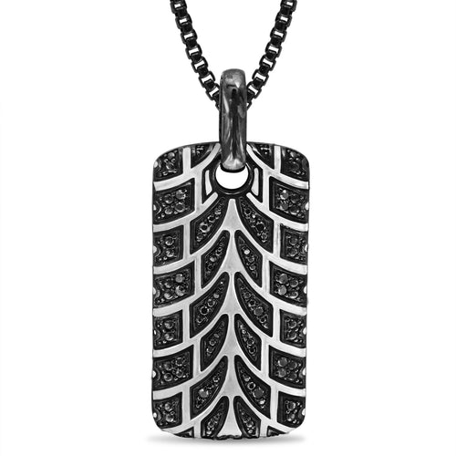 Rhodium Plated Sterling Silver Pro Rider Tire Tread & Black Diamond Tag ,[product vendor],JewelStreet