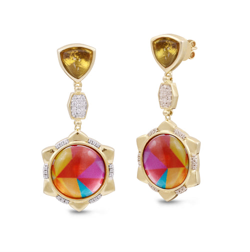 Sterling Silver Yellow Gold Plated Girl on Fire Vibrant Citrine Diamond Earrings ,[product vendor],JewelStreet