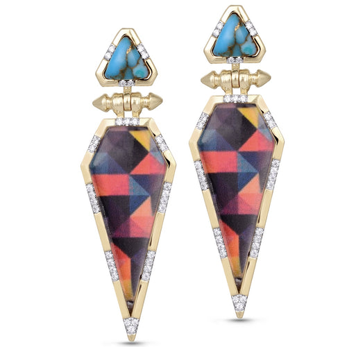Sterling Silver Yellow Gold Plated Fearless Turquoise Diamond Earrings ,[product vendor],JewelStreet