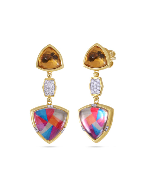 Sterling Silver Yellow Gold Plated Colorful Canvas Diamond Earrings ,[product vendor],JewelStreet