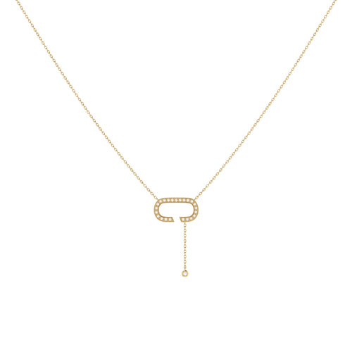 14 KT Yellow Gold Plated Celia C Drop Lariat Necklace ,[product vendor],JewelStreet