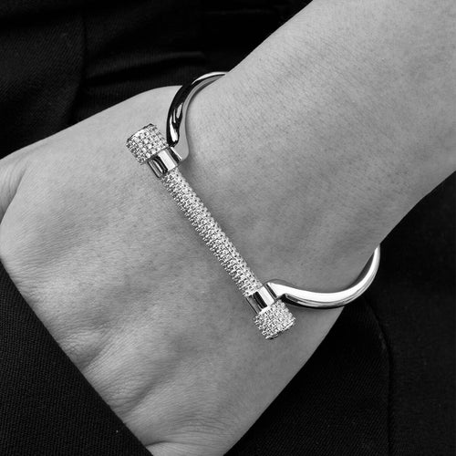 White Gold Paved D Cuff Bracelet ,[product vendor],JewelStreet